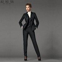 Куртка + Брюки для девочек + жилет Дизайн черный Для женщин Бизнес Костюмы Блейзер Женский Офис форма 3 предмета костюм женские зимние костюм