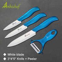 Cuchillo de cerámica 3 paring 4 utility 5 Cuchillo de rebanado con un mango azul + pelador de hoja blanca juego de cuchillos de cocina
