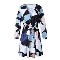 Spring Autumn V-neck Button Women's Fashion Dress Slim Waist Printed Casual Mini Dresses Vestidos