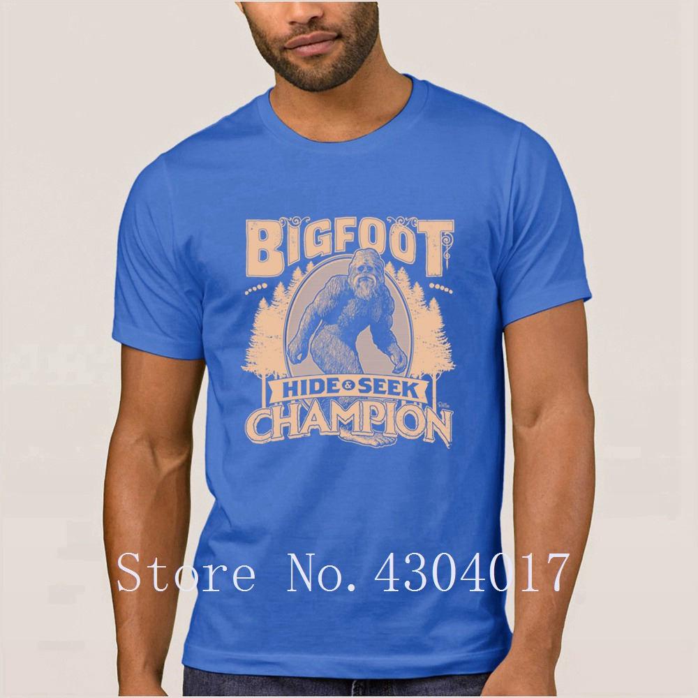 5c1bab395 Bigfoot Hide Amp Seek Champion T Shirt Round Collar Printed Graphic Men's T  Shirt Streetwear Male Size S 3xl Awesome Tee Tops-in T-Shirts from Men's ...