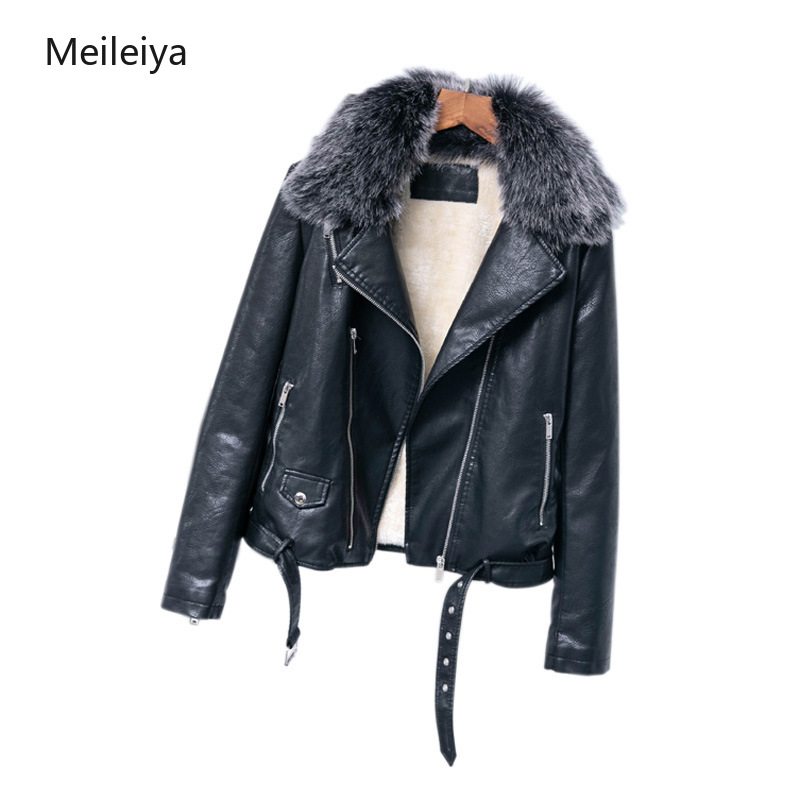 Removable Collar Thermal Lady's   Leather   Jacket Winter 2019 PU Woman   Leather   Jacket Belt Locomotive Jacket