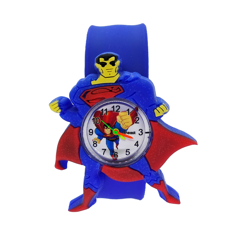 4D Superman Children Fashion Watches Quartz Wristwatches Waterproof Jelly Kids Clock Boys Girls Students Clock Relogio Kol Saati