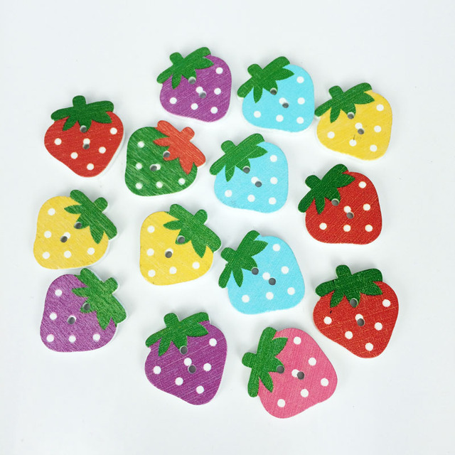 Buy 50pcs strawberry fashion fancy bulk for Decorative buttons for crafts