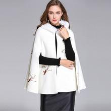 High Quality Winter Elegant Embroidery Shawl Coat With Hat High Quality European Pretty Loose Cloak Warm Coat(China)