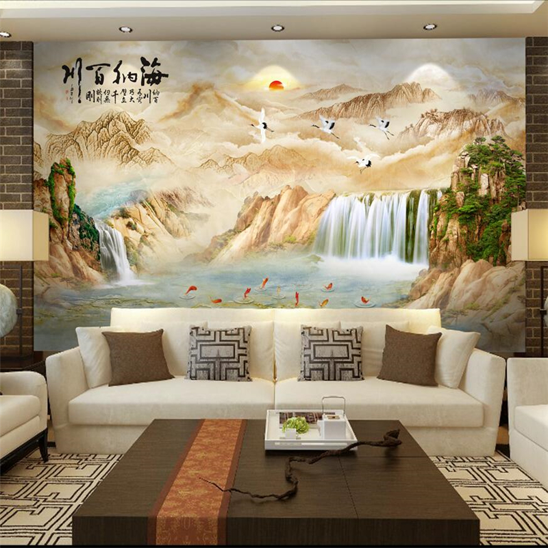 beibehang papel de parede Custom Wallpaper Chinese marbles TV sofa background landscape painting Heiner rivers tapety behang