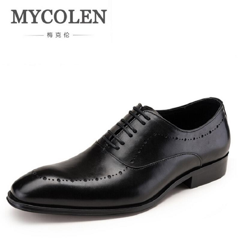MYCOLEN Comfortable Mens Lace Up Brogue Genuine Leather Formal Dress Shoes Black Office Party Wedding Shoe Sepatu Pria farvarwo brogue shoes mens dress genuine leather oxford black