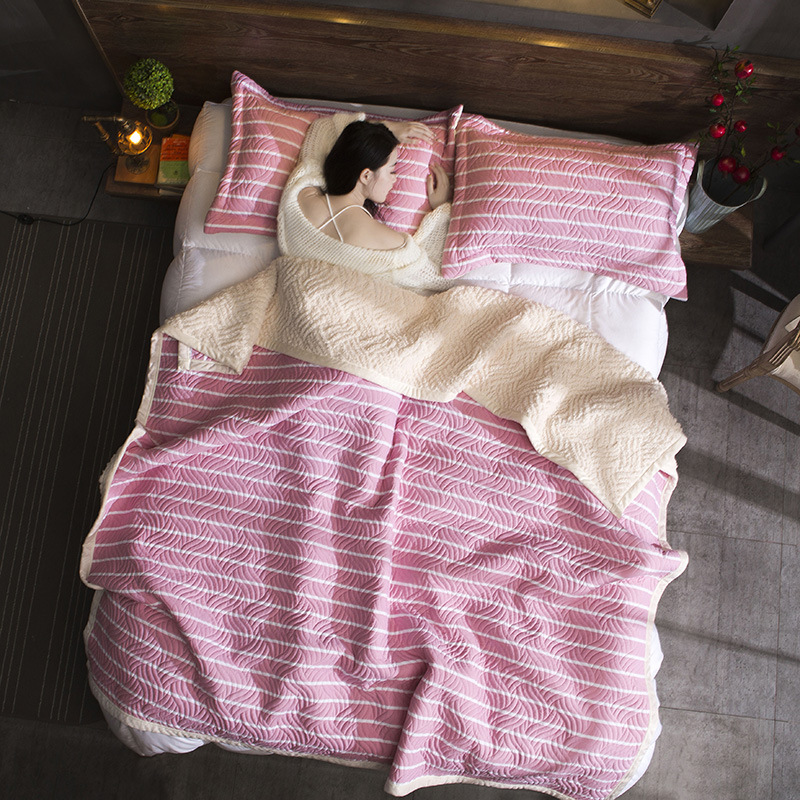 цены ZHH Warm Soft Fleece Strip Blankets Double Layer Thick Plush Throw on Sofa Bed Plane Plaids Solid Bedspreads Home Textile 1PC