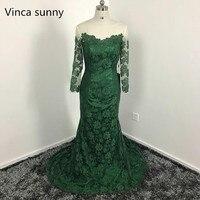 2017 Dark Green Mermaid Lace Bridesmaid Dresses Custom Made Vestidod E Festa Long Sleeves Bridesmaid Dress