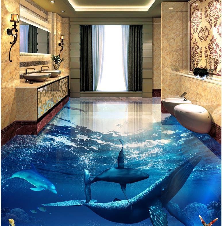 Custom Any Size 3D Curtain Blackout Shade Window Curtains Whale Dolphin Underwater World 3D Bathroom Living Room Flooring