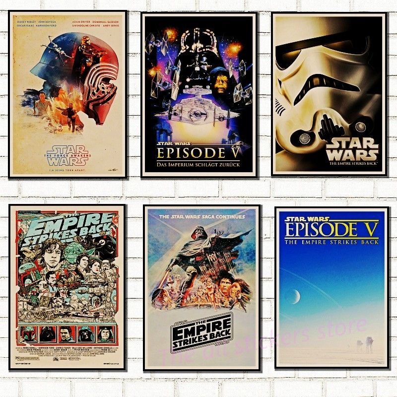 Vintage Star Wars poster retro art classic house decorated movie The Empire Strikes Back Star Wars kraft posters wall stickers
