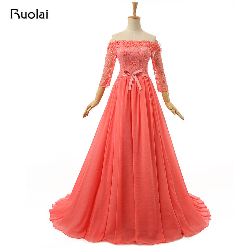 Elegant 2019 Real   Dress   Off the Shoulder Long Sleeves A-Line Flower Sequined Tulle Lace Long   Evening     Dress   for Prom Party ASAFE4