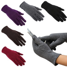 Fashion 1 Pair Women Newly Outdoor Button Design Phone Touch Screen Winter Gloves Warm Soft