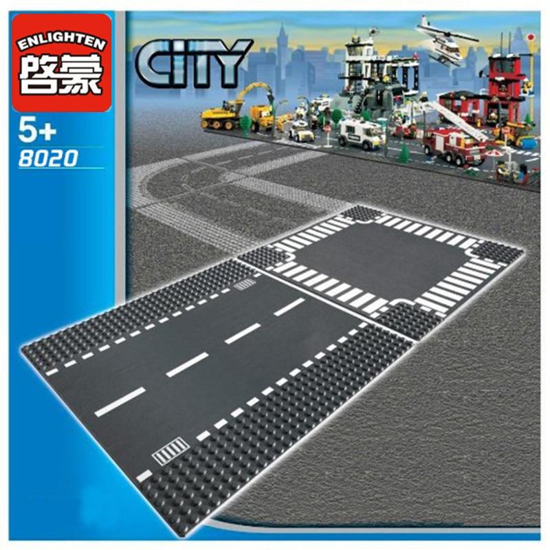 ENLIGHTEN City Road Street Baseplate Straight Crossroad Curve T-Junction Building Blocks Parts Bricks Base Plate DIY Toys Gifts