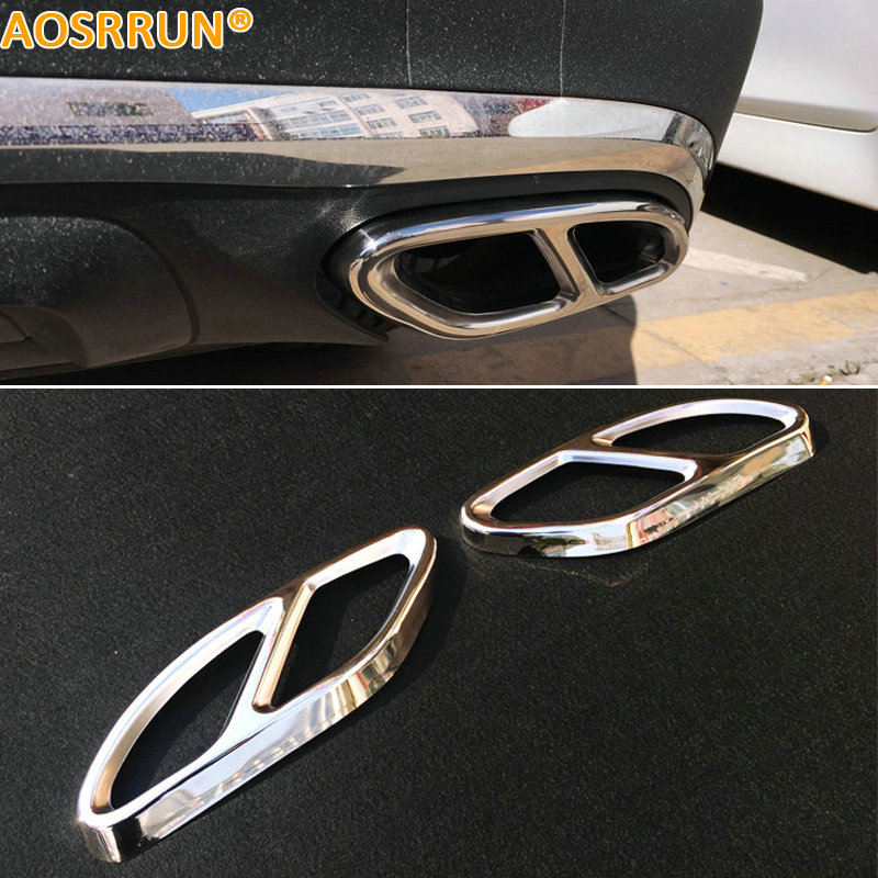 AOSRRUN Stainless steel Exhause air filter 2 to 4 Cover Car Accessories For Mercedes Benz GLC300