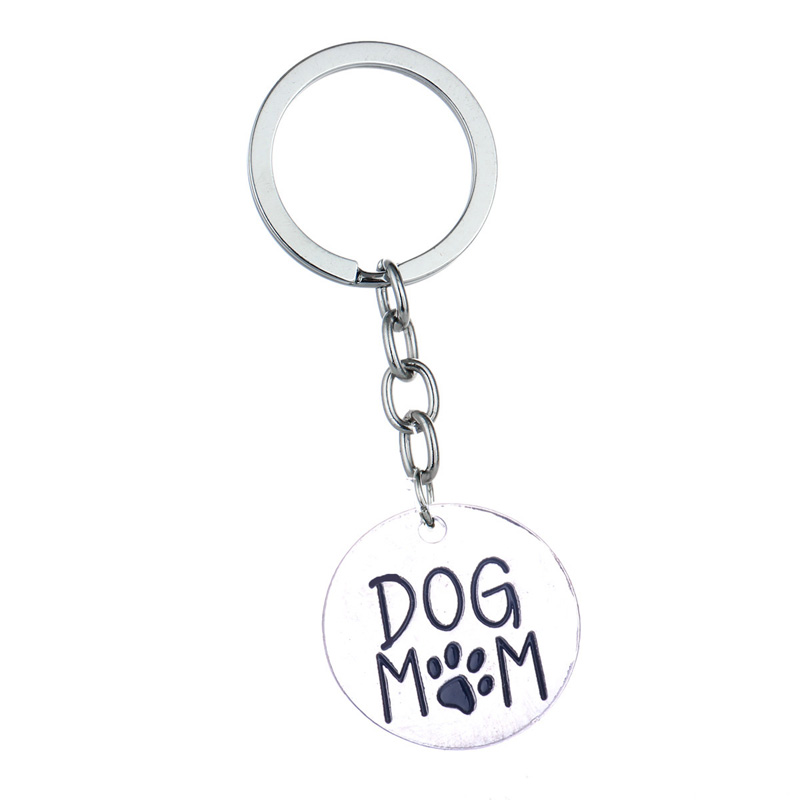 12 Pc/lot Dog Mom Paw Print Pendant Keychain Keyring Family Women Mommy Charm Key Ring Wallet Key Chains Mother's Day Gift