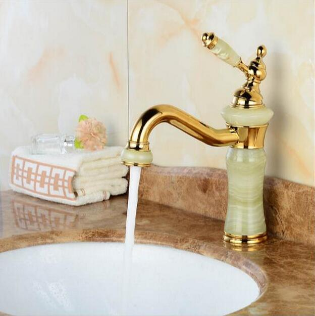 New jade and brass faucet gold finished bathroom basin faucet,Luxury sink tap basin mixer High Quality water tap free shipping high quality chrome finished brass in wall bathroom basin faucet brief sink faucet bf019