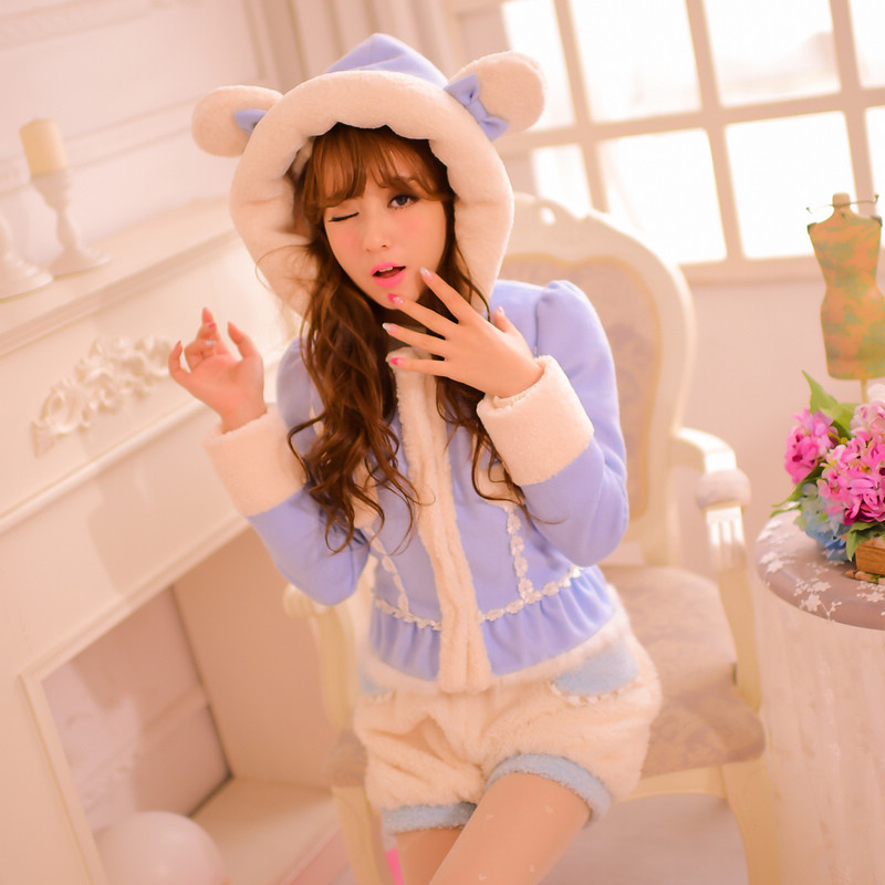 Princess sweet lolita coat Candy rain Japanese style new winter Cute bear's ear hooded Faux suede warm Short coat C15CD8137 princess sweet lolita coat candy rain original new winter japanese style rabbit fur lace bow cotton padded jacket pink coat ab02