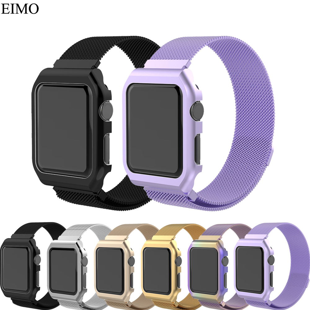 EIMO Milanese Loop band For Apple Watch Case 42mm 38mm iwatch series 3 2 1 strap Stainless Steel wrist bands Link Bracelet crested milanese loop strap for apple watch band 42mm 38mm stainless steel link bracelet wristband for iwatch 3 2 1 with case