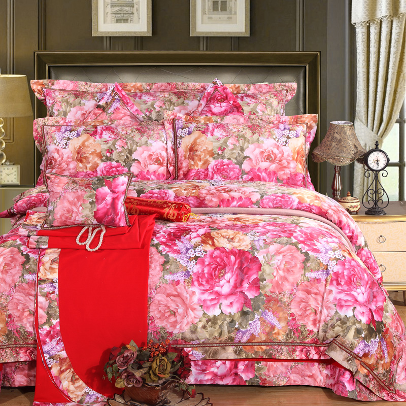 blossoming peonies pattern bedding collection sets wedding linens silk satin cotton jacquard queenking size bed in bag