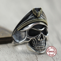 S925 Sterling Silver Men's Ring Personality style classic retro simple Skeleton officer opening shape Send a gift to love