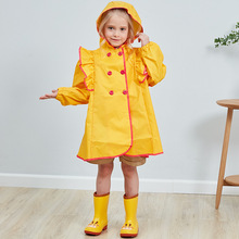 Fashion Solid Color Student Child Raincoat Princess Doll Cute Baby Girl Poncho For Kids High Quality Polyester Fabric