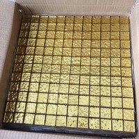 Aangepaste grootte: 15x15x8mm, 48x48x8mm vergulden goud stempel 3D effect mozaïektegels, KOPEN MEER EN BESPAAR! LSTJ01
