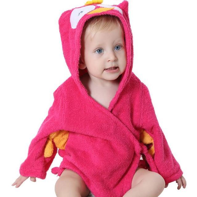 2016 New Baby Clothing Cartoon Baby Robes Hooded Cotton Sleepwear Baby Boy Bathrobes Infant Towel Robe