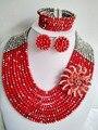 Moda Opaco Rojo y de Plata de la joyería de los granos africanos boda perlas africanas joyería conjunto setnigerian Z695