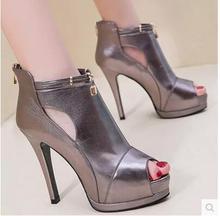 2016 frühjahr neue fischmaul hochhackigen schuhe wasserdicht einzelnen schuhabsatz sexy sandalen für frauen schuhe Römischen damen stiefel