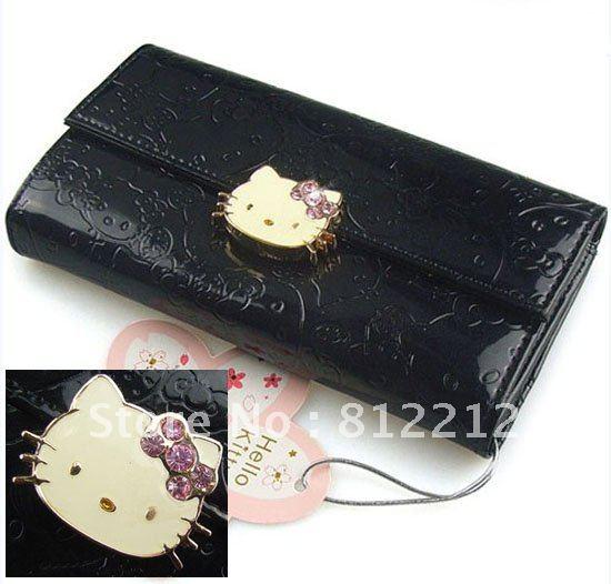 fc6642ffb0e83 100%new Fashion Hello Kitty PU Leather Black Wallet Long Purse Bag Ladys  Girls Best Gift