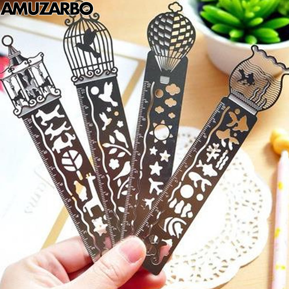 Openwork Exquisitely Metal Bookmarks With Scales Creative Multi-function Painted Icon Model Ruler Student Stationery Supplies