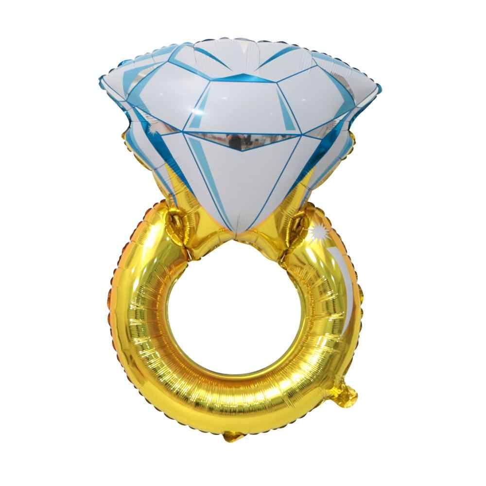 1pc Anel de Diamante Festa de Casamento Decoração de Balões Folha Carta de AMOR Ballon Inflável Hélio Ballon Do Ar Suprimentos Dia Dos Namorados