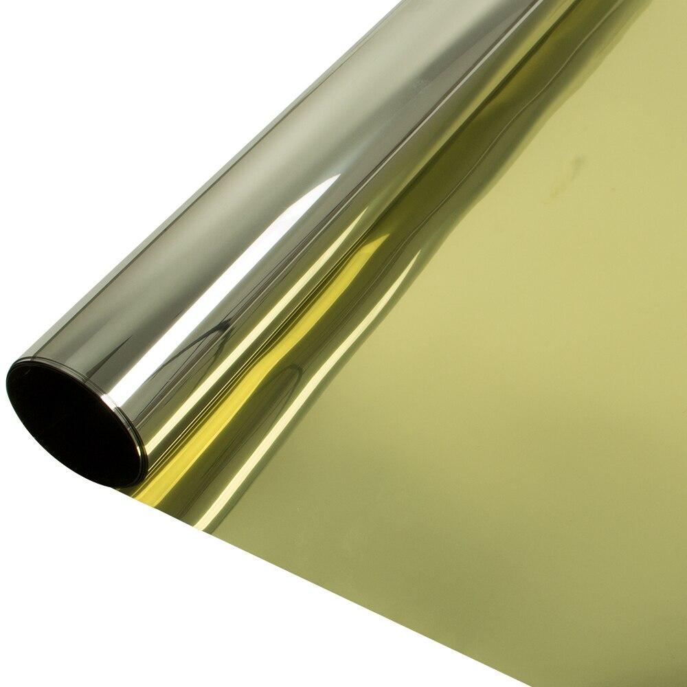 HOHOFILM or et argent un sens miroir fenêtre Film Anti-UV intimité solaire teinte maison bureau bâtiment verre autocollant 76x1000cm