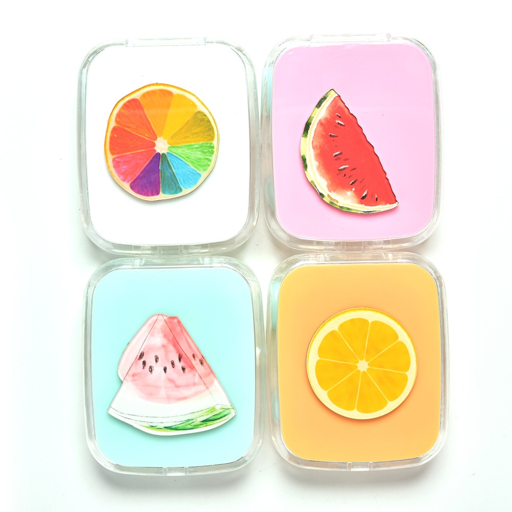 1 Pcs DIY Cute Color Fruit Watermelon Orange Contact Lens Case For Eyes Contact Lenses Box For Glasses 4 Styles
