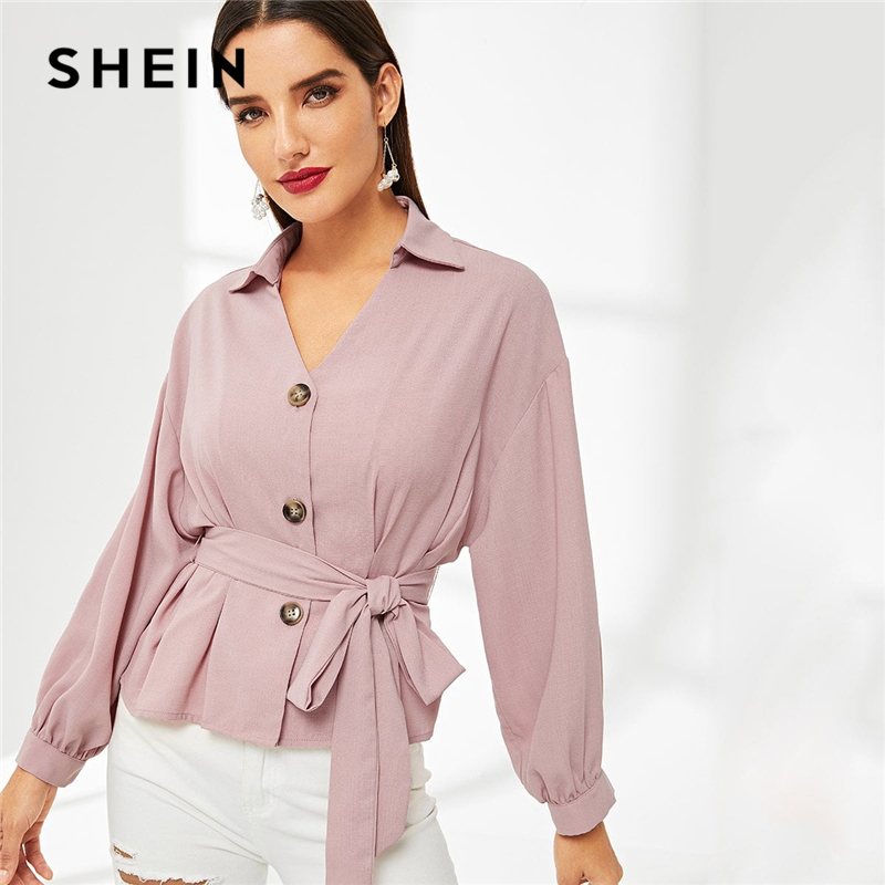 b1101ea94901 SHEIN Pink Solid Button Front Peplum Belted Top Elegant Ruched Plain  Placket V Neck Long Sleeve 2019 Women Spring Shirt Blouses-in Blouses    Shirts from ...