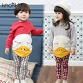 Retail 2017 Spring style Infant clothes Thicken Clothing sets Squinting Big Duck 2pcs(Full Sleeve + Pants) Baby Unisex clothes
