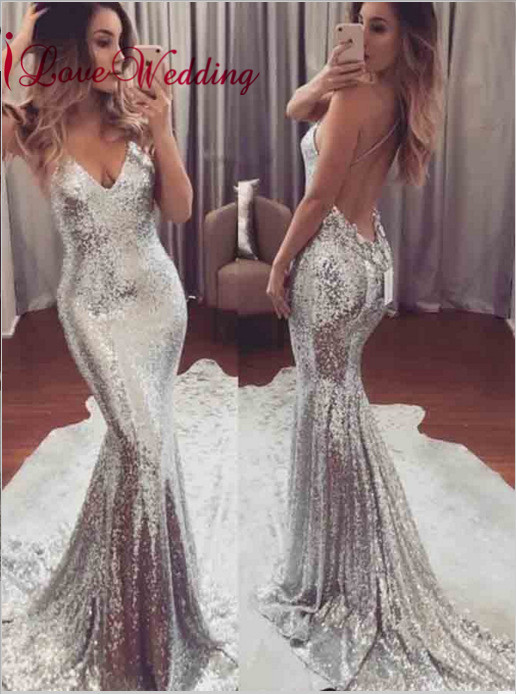 Vestidos de fiesta largos elegantes de gala Sexy V Neck Silver Sequins Spaghetti Straps Open Back Mermaid Evening   Prom     Dresses