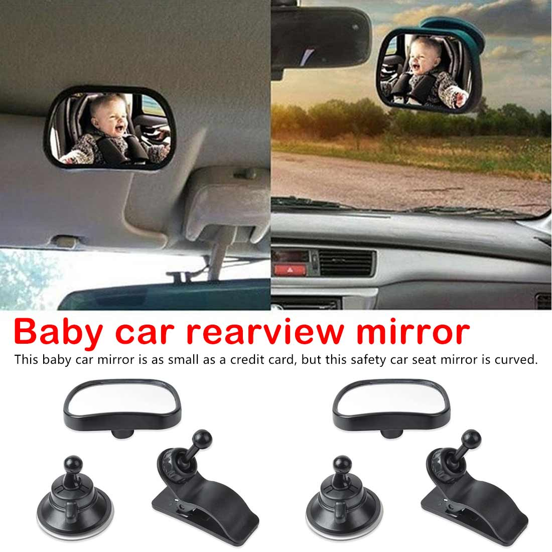 Shatter-proof Safety New Sucktion Cup on Windshield Baby Car Mirror Rear Facing View Infant//Toddler In Back Seat