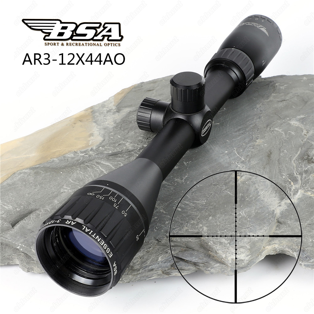 BSA Essential AR 3-12x44 AO Hunting Optics Riflescopes Mil Dot Reticle Shooting Air Gun Rifle Scopes Sight with Metal Lens Cover leapers utg 3 9x32 aolmq compact mil dot reticle hunting optics riflescopes locking w sun shade