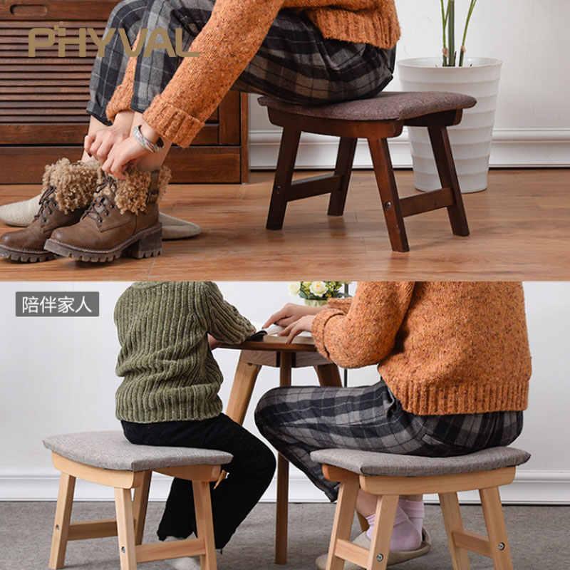 Деревянный пуф скандинавский табурет простой османский для гостиной Детская мебель тканевый табурет для ног