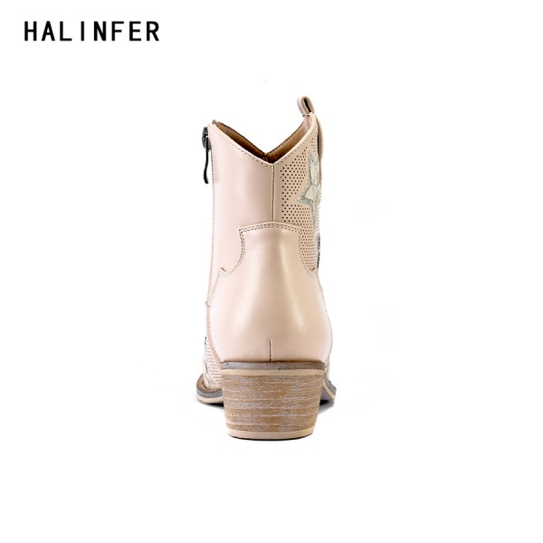 HALINFER western cowboy ankle boots for shoes women suede high heels pointed toe fashion pink star crystal zapatos mujer