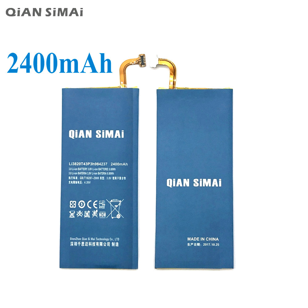 QiAN SiMAi 1pcs 100% High Quality Li3820T43P3h984237 Battery for ZTE Nubia Z5S mini NX403A 2400mAh Rechargeable Battery