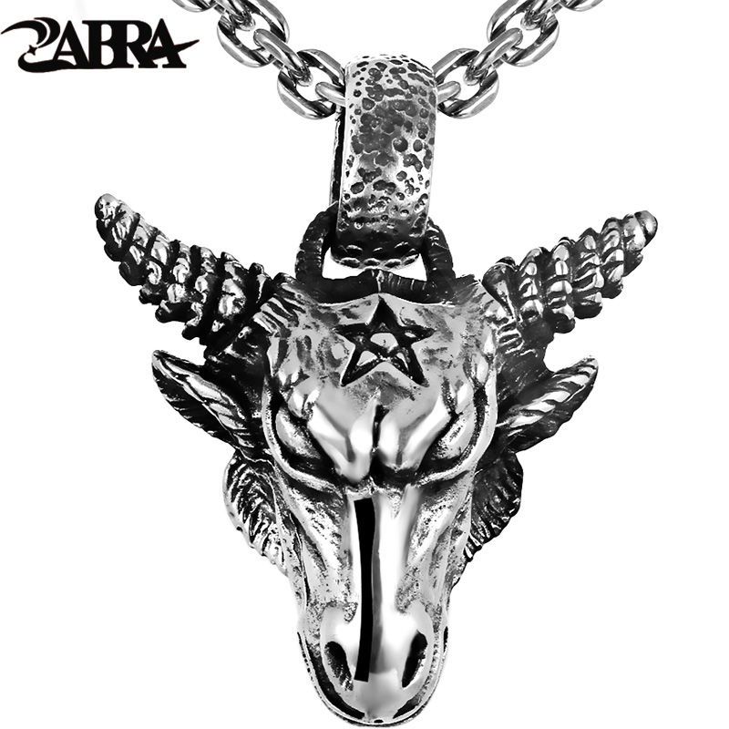 ZABRA Pure 925 Sterling Silver 46*36mm Big Vintage Bull Pendant Biker Men Necklace Punk Retro Men Sterling Silver Gothic Jewelry zabra luxury 925 silver bracelets men vintage punk crown mens skull bracelet biker gothic sterling silver jewelry erkek bileklik