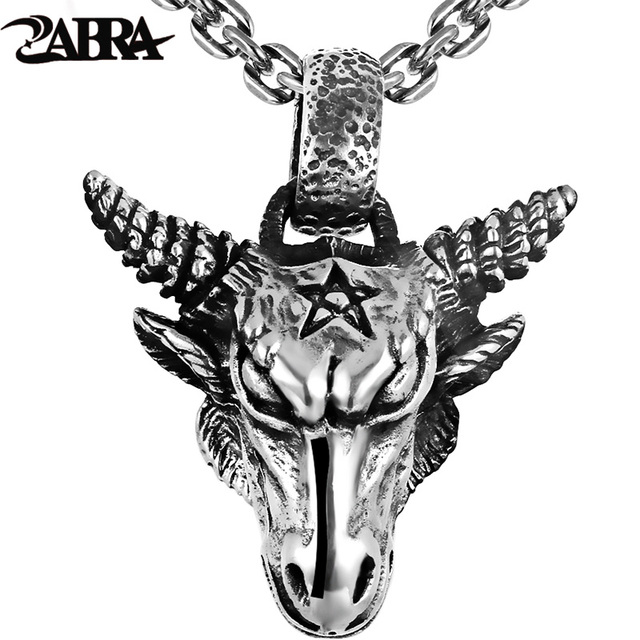 49e65049450d ZABRA Pure 925 Sterling Silver 46 36mm Big Vintage Bull Pendant Biker Men  Necklace Punk Retro Men Sterling Silver Gothic Jewelry