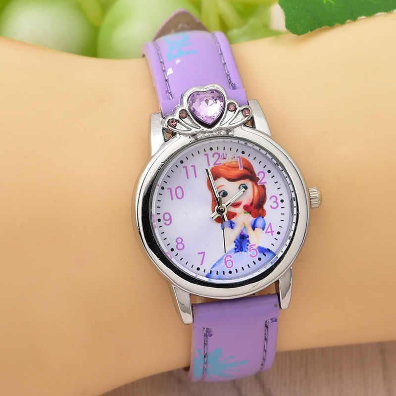 Новые стильные детские наручные часы принцессы Эльзы детские часы принцессы Анны с кристаллами для девочек студенческие часы для детской наручные часы