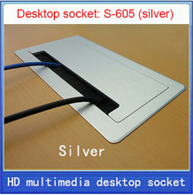 Escova clamshell multifuncional tomada de desktop/VGA/USB/HDMI/Microfone de ÁUDIO 3.5/tomada de desktop Escondido escovado Silver-605