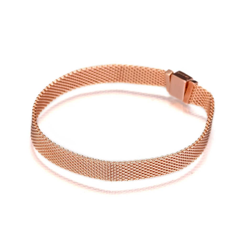 925 Sterling Silber Schmuck Rose Reflexions Armbänder Armreifen für Frauen DIY Passt Perlen Charms Modeschmuck QANDOCCI