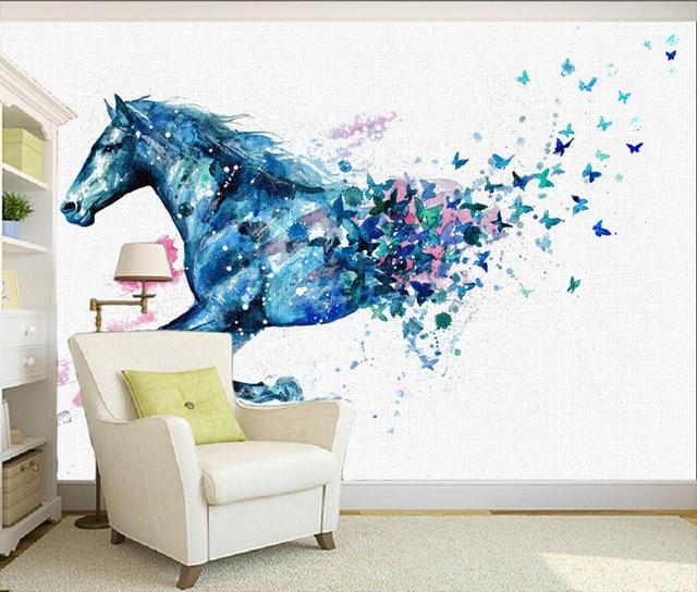 Custom 3D photo wallpaper Wall painting watercolor horse ...