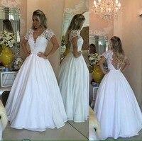 Neueste Heißer Verkauf Einfache Günstige Preis Hochzeit Kleid v-ausschnitt Kurzen Ärmeln Backless robe de mariage
