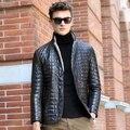 De cuero de gamuza de piel de oveja abrigo de cuero genuino abajo hombres de la capa nueva chaqueta de cuero de piel de lana de invierno masculina diseño delgado Nueva Phoenix